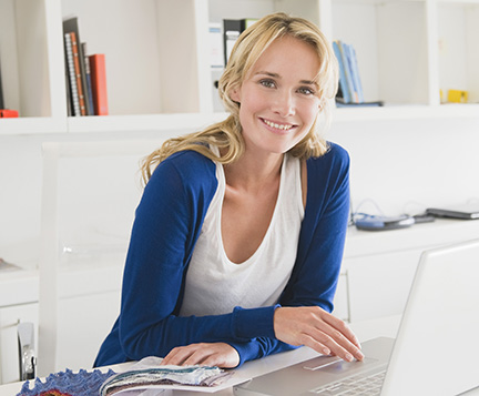Female on computer